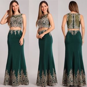 2 pc Forest Green Sexy Bodycon Dress